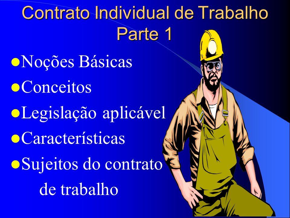 Contrato Individual de Trabalho Parte 1 Noções Básicas Conceitos Legislação aplicável Características Sujeitos do contrato de trabalho