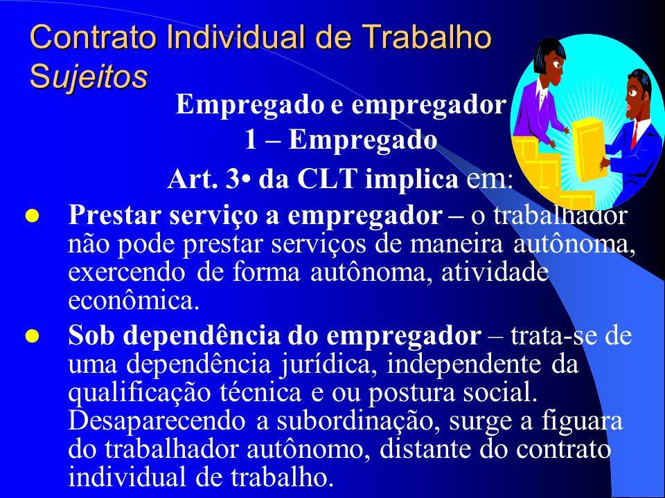 Contrato Individual de Trabalho Sujeitos Empregado e empregador 1 – Empregado Art. 3 da CLT implica em : Ser pessoa física – o trabalho é pessoal e in