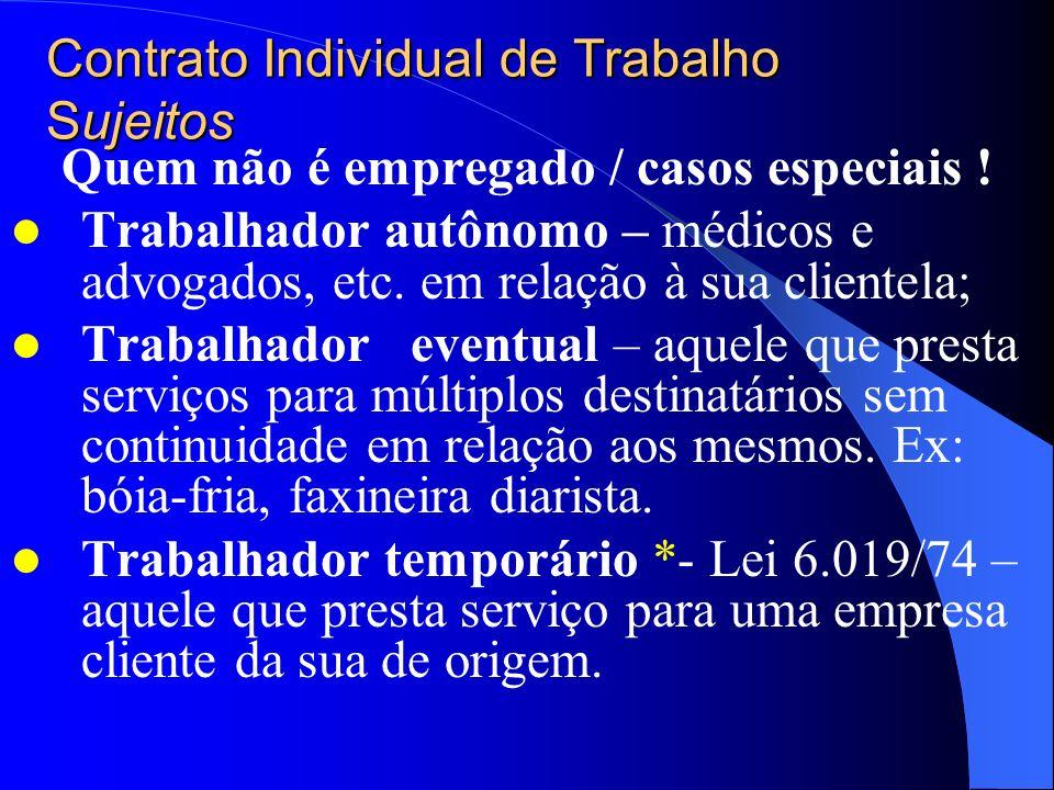 Contrato Individual de Trabalho Sujeitos Empregado e empregador 1 – Empregado Art. 3 da CLT implica em: Mediante percepção de salário – contraprestaçã