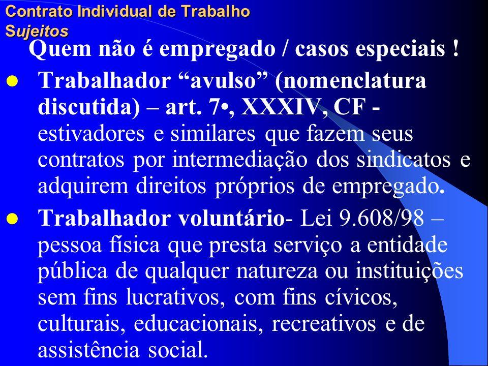 Contrato Individual de Trabalho Sujeitos Quem não é empregado / casos especiais ! Trabalhador autônomo – médicos e advogados, etc. em relação à sua cl