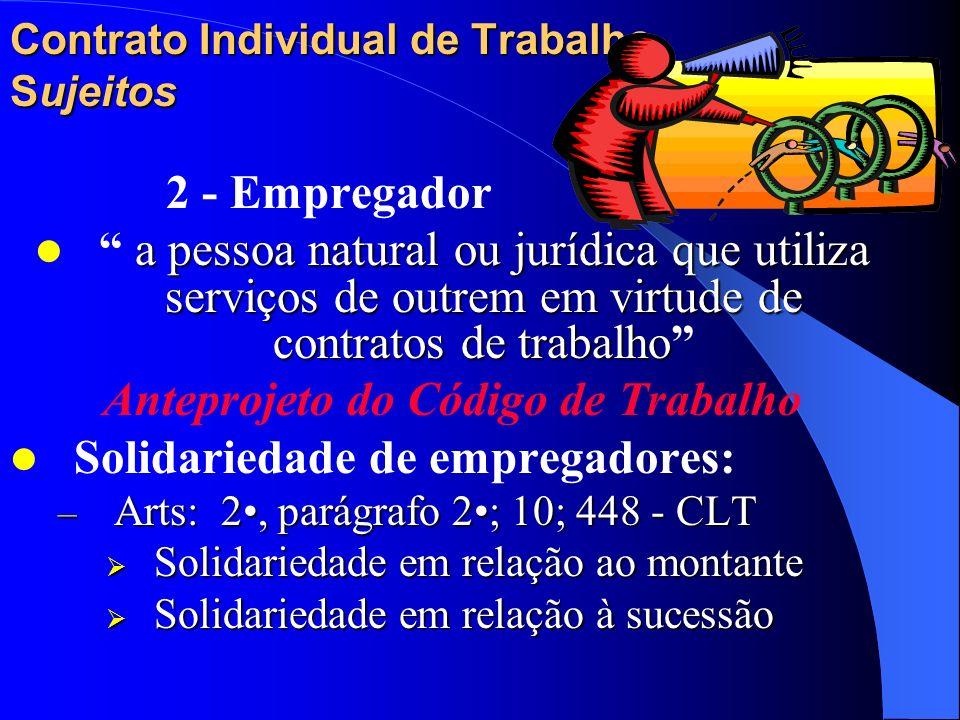 Contrato Individual de Trabalho Sujeitos 2 - Empregador Conceito inicial: art. 2 da CLT Complementos: – Despersonalização do empregador tratando-o com