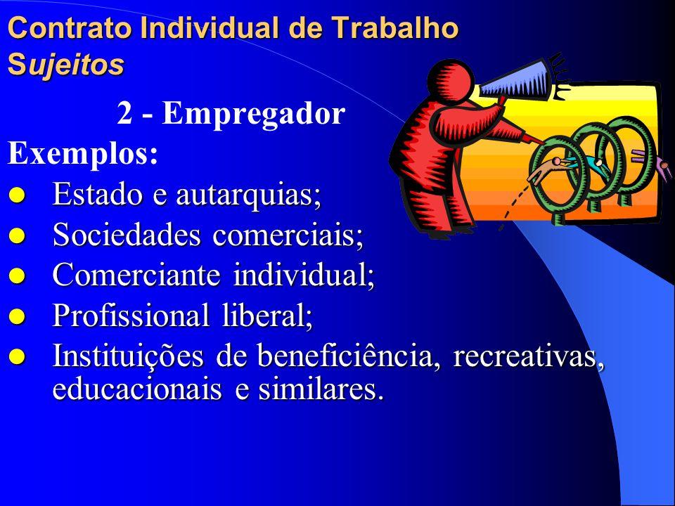 Contrato Individual de Trabalho Sujeitos 2 - Empregador a pessoa natural ou jurídica que utiliza serviços de outrem em virtude de contratos de trabalh