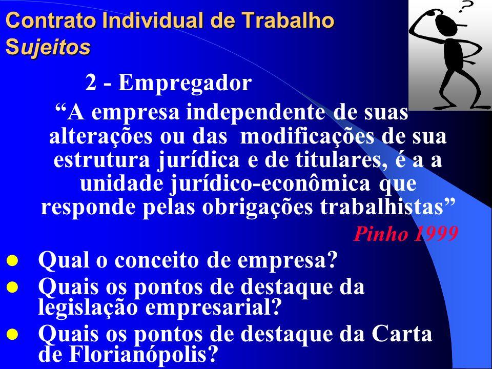 Contrato Individual de Trabalho Sujeitos 2 - Empregador Exemplos: Estado e autarquias; Estado e autarquias; Sociedades comerciais; Sociedades comercia