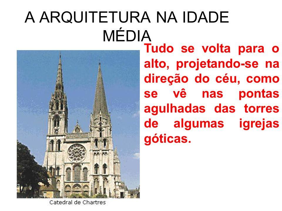 A ARQUITETURA NA IDADE MÉDIA Tudo se volta para o alto, projetando-se na direção do céu, como se vê nas pontas agulhadas das torres de algumas igrejas góticas.