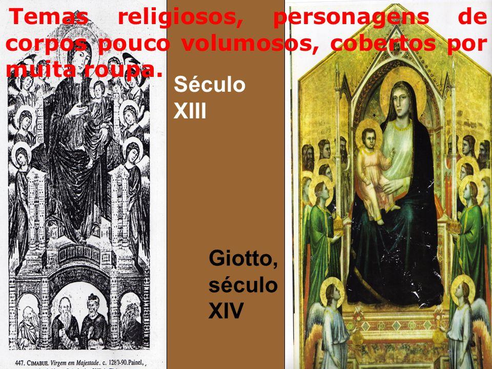 Temas religiosos, personagens de corpos pouco volumosos, cobertos por muita roupa.