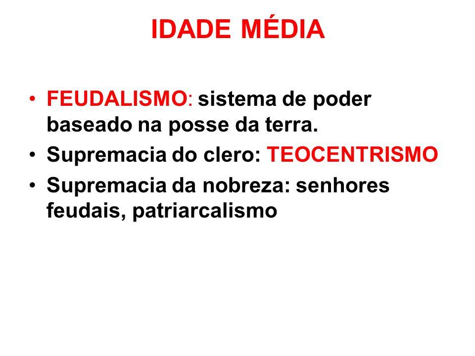 IDADE MÉDIA FEUDALISMO: sistema de poder baseado na posse da terra.