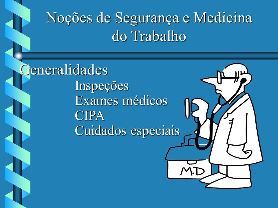 Noções de Segurança e Medicina do Trabalho GeneralidadesInspeções Exames médicos CIPA Cuidados especiais