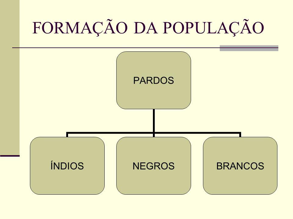 FORMAÇÃO DA POPULAÇÃO PARDOS ÍNDIOSNEGROSBRANCOS