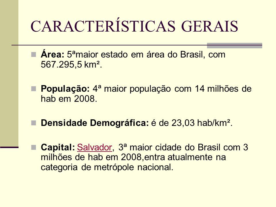 CARACTERÍSTICAS GERAIS Área: 5ªmaior estado em área do Brasil, com 567.295,5 km². População: 4ª maior população com 14 milhões de hab em 2008. Densida