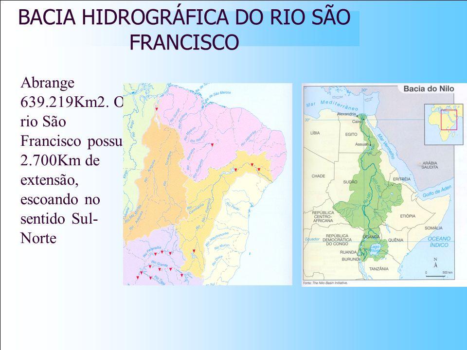 BACIA HIDROGRÁFICA DO RIO SÃO FRANCISCO Abrange 639.219Km2. O rio São Francisco possui 2.700Km de extensão, escoando no sentido Sul- Norte