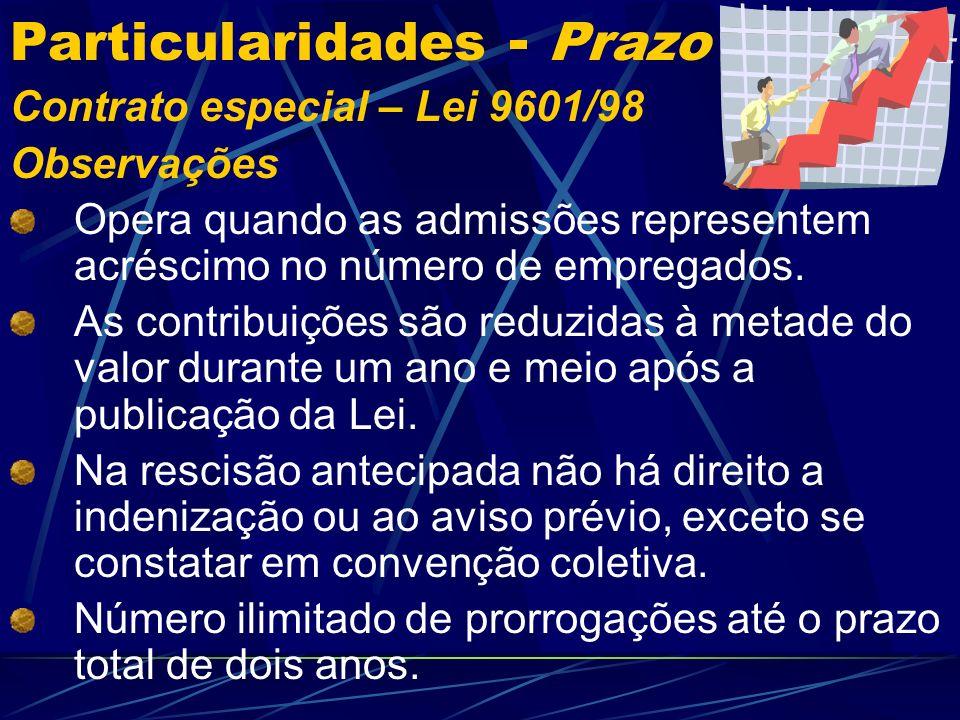 Particularidades - Prazo Contrato especial – Lei 9601/98 Observações Visa incentivar as empresas e fomentar o crescimento econômico.