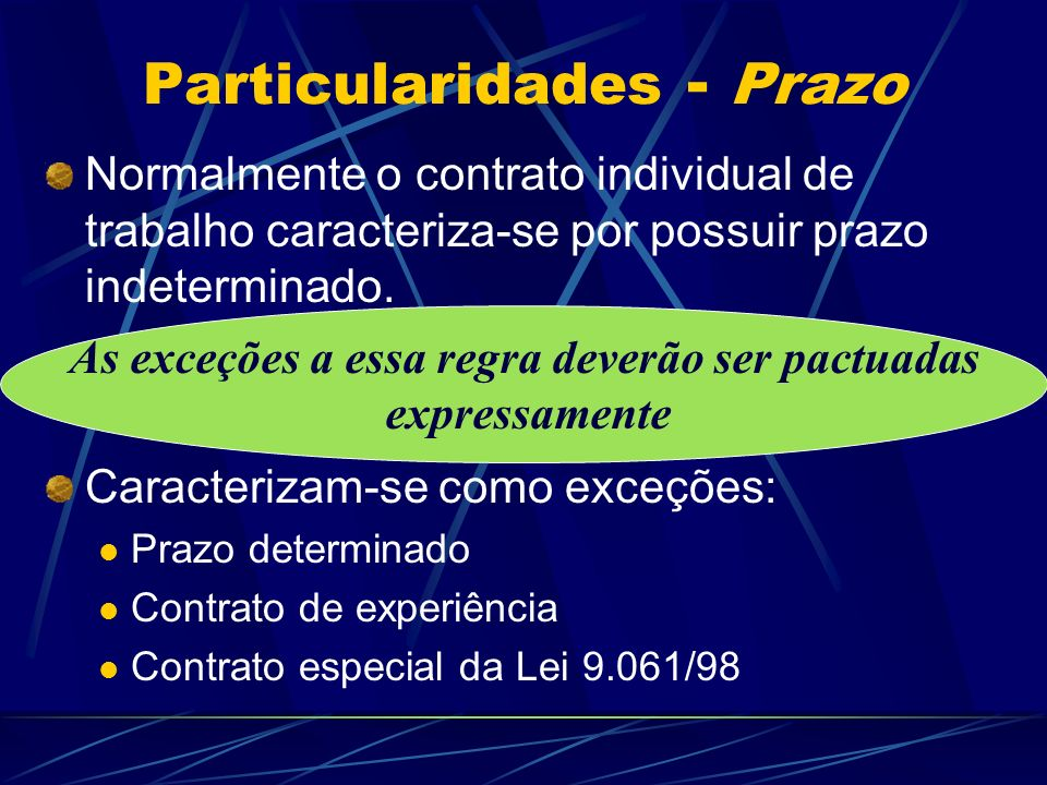 Contrato Individual de Trabalho - particularidades Prazo do contrato de trabalho Procedimentos para admissão Casos especiais Alterações