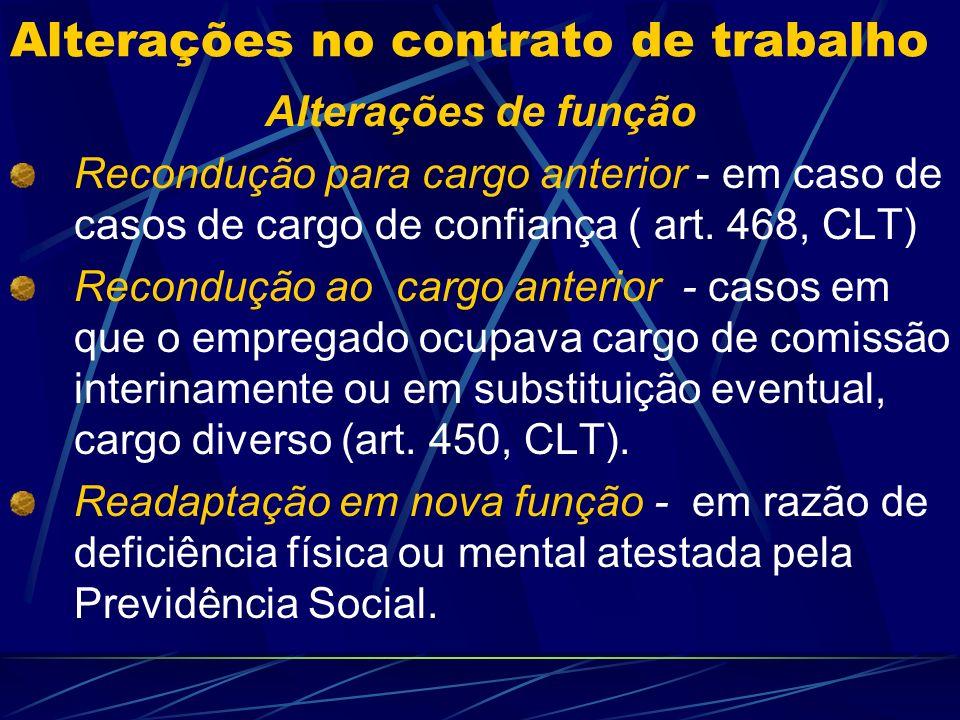 Alterações no contrato de trabalho Conceito São as mudanças permitidas pela CLT, CF, acordos e convenções coletivas.