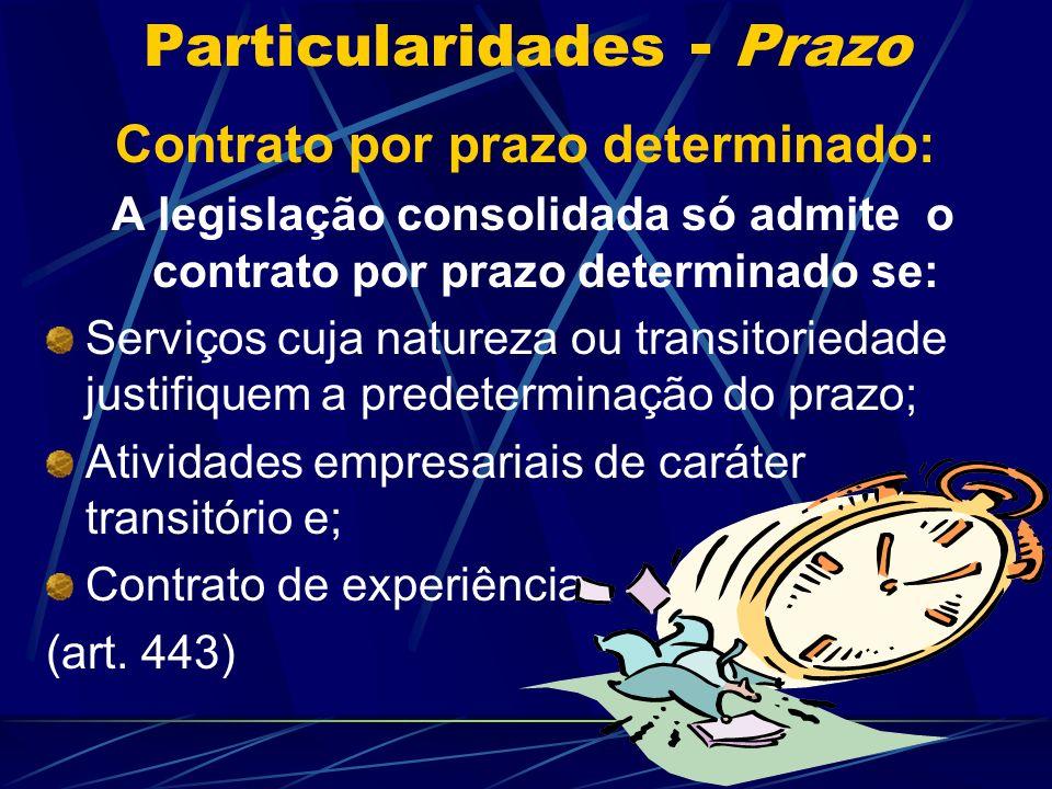 Particularidades - Prazo Normalmente o contrato individual de trabalho caracteriza-se por possuir prazo indeterminado.