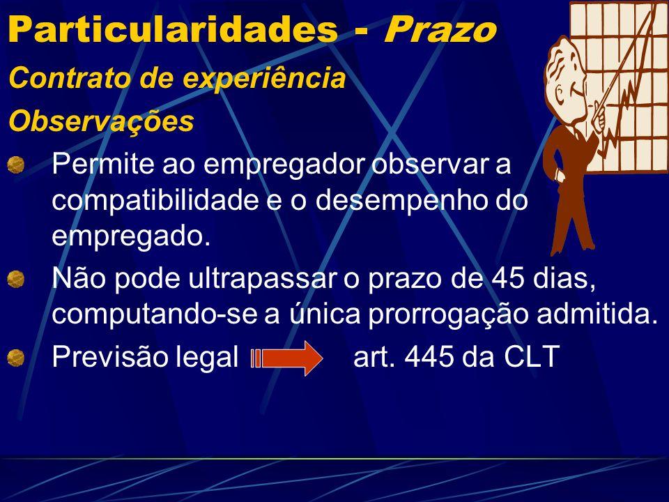 Particularidades - Prazo Contrato por prazo determinado Casos previstos na legislação não consolidada Contrato de aprendizagem – DL.