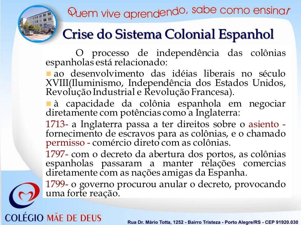 Crise do Sistema Colonial Espanhol O processo de independência das colônias espanholas está relacionado: ao desenvolvimento das idéias liberais no séc