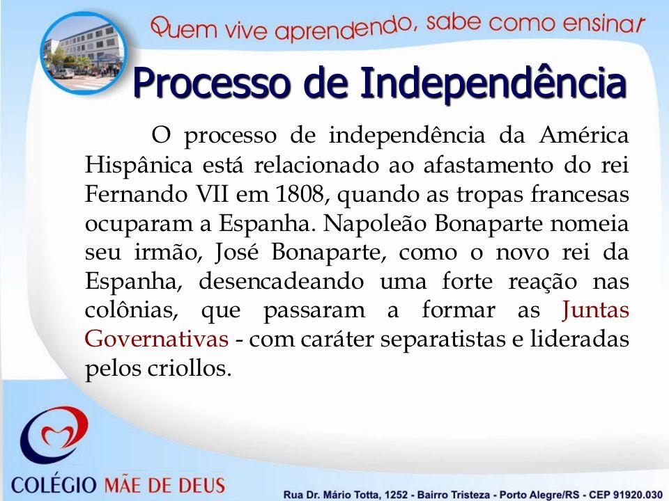 Processo de Independência O processo de independência da América Hispânica está relacionado ao afastamento do rei Fernando VII em 1808, quando as trop