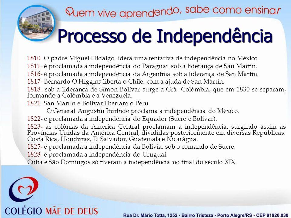 1810- O padre Miguel Hidalgo lidera uma tentativa de independência no México. 1811- é proclamada a independência do Paraguai sob a liderança de San Ma