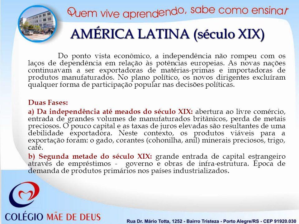 AMÉRICA LATINA (século XIX) Do ponto vista econômico, a independência não rompeu com os laços de dependência em relação às potências europeias. As nov