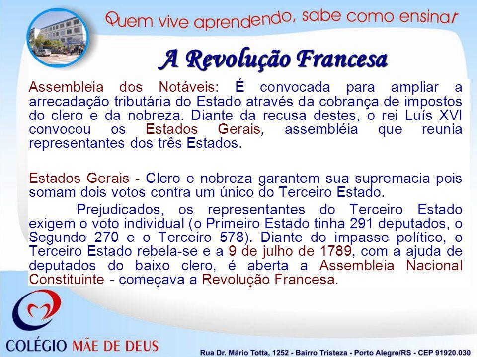 A Revolução Francesa Assembleia dos Notáveis: É convocada para ampliar a arrecadação tributária do Estado através da cobrança de impostos do clero e d