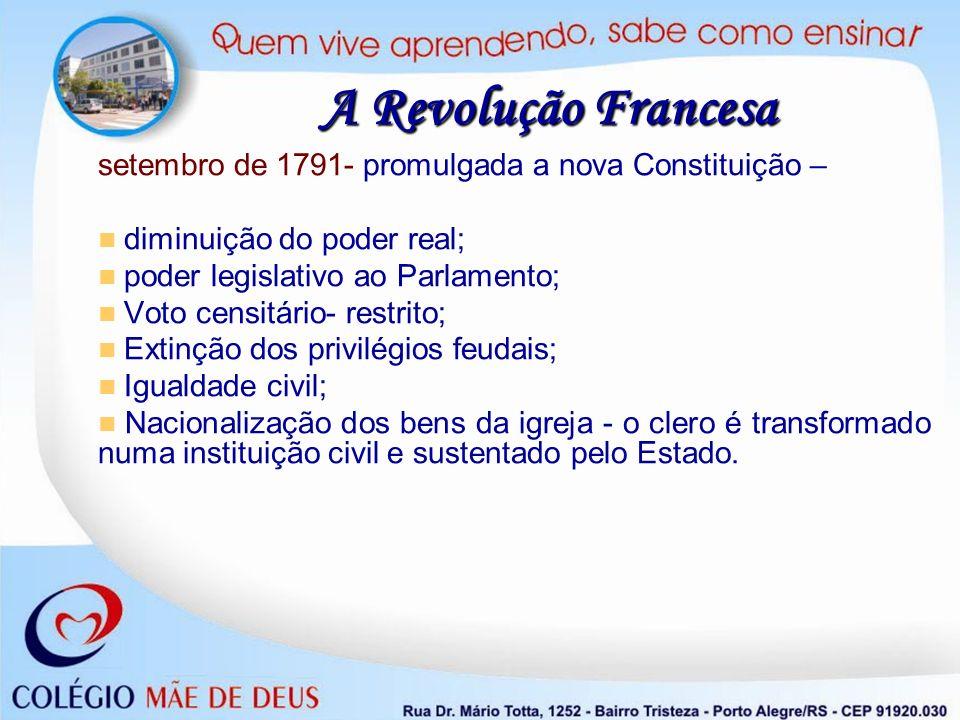 A Revolução Francesa setembro de 1791- promulgada a nova Constituição – diminuição do poder real; poder legislativo ao Parlamento; Voto censitário- re