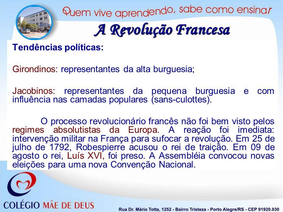 A Revolução Francesa Tendências políticas: Girondinos: representantes da alta burguesia; Jacobinos: representantes da pequena burguesia e com influênc