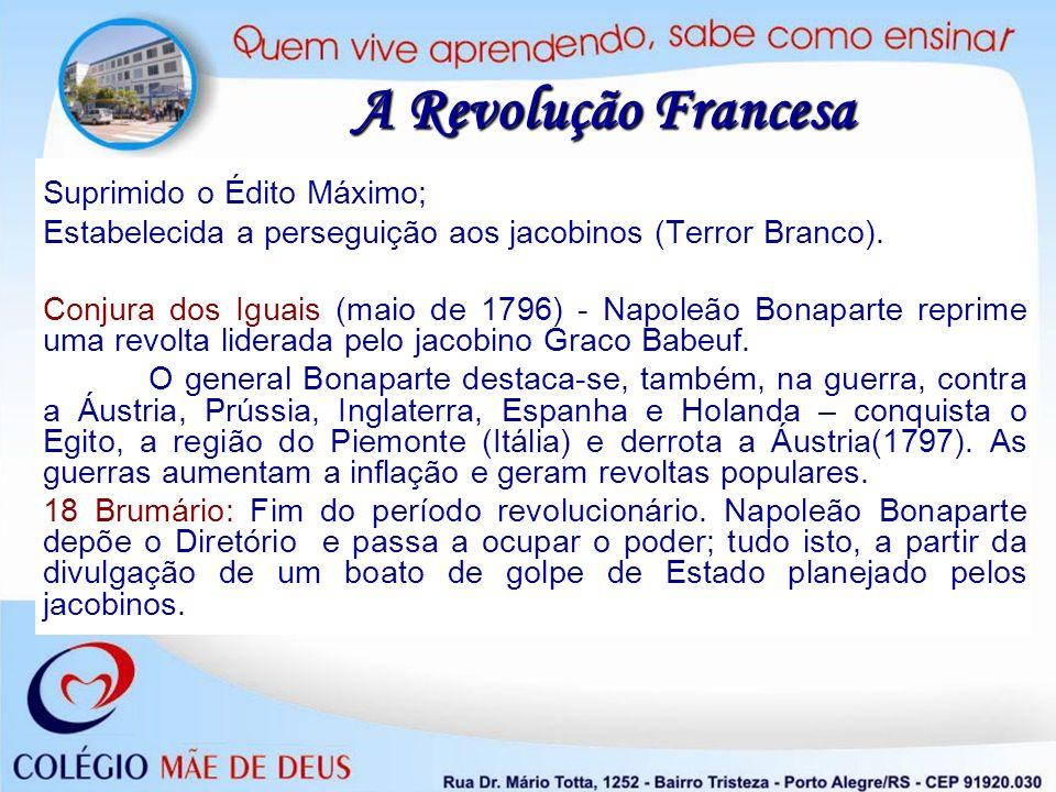 Suprimido o Édito Máximo; Estabelecida a perseguição aos jacobinos (Terror Branco). Conjura dos Iguais (maio de 1796) - Napoleão Bonaparte reprime uma