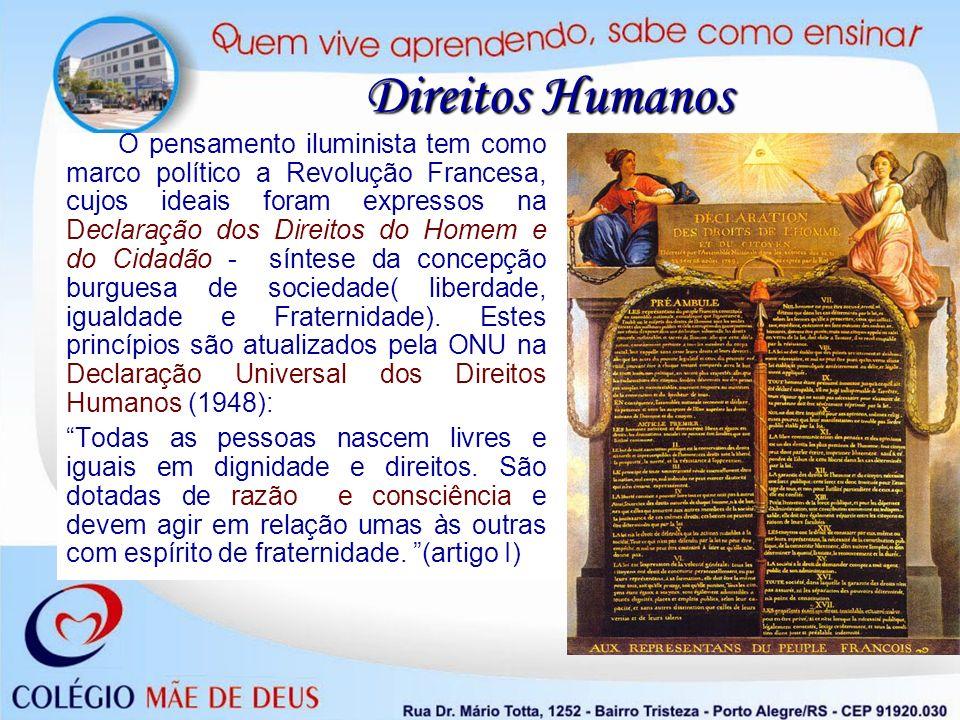 Direitos Humanos O pensamento iluminista tem como marco político a Revolução Francesa, cujos ideais foram expressos na Declaração dos Direitos do Home