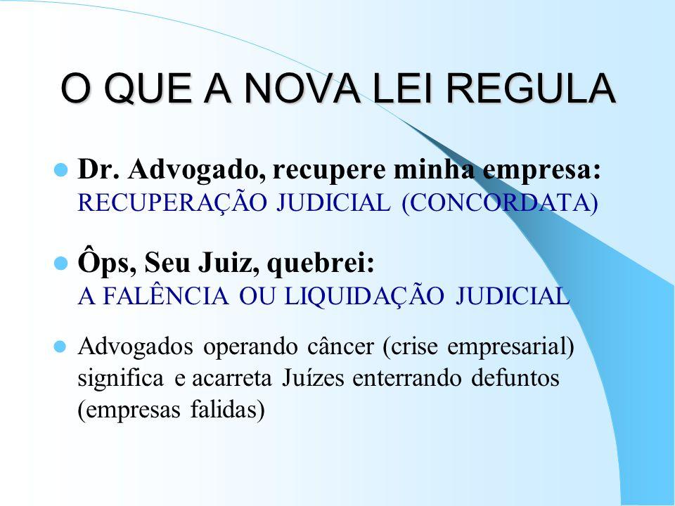 O QUE A NOVA LEI REGULA Dr. Advogado, recupere minha empresa: RECUPERAÇÃO JUDICIAL (CONCORDATA) Ôps, Seu Juiz, quebrei: A FALÊNCIA OU LIQUIDAÇÃO JUDIC