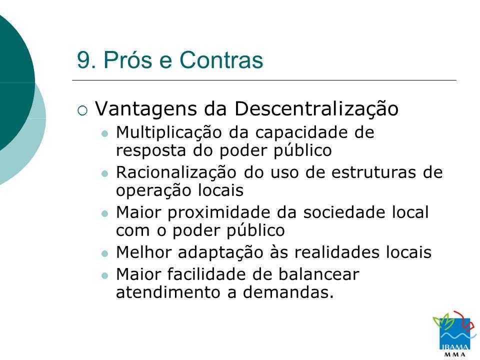 9. Prós e Contras Vantagens da Descentralização Multiplicação da capacidade de resposta do poder público Racionalização do uso de estruturas de operaç