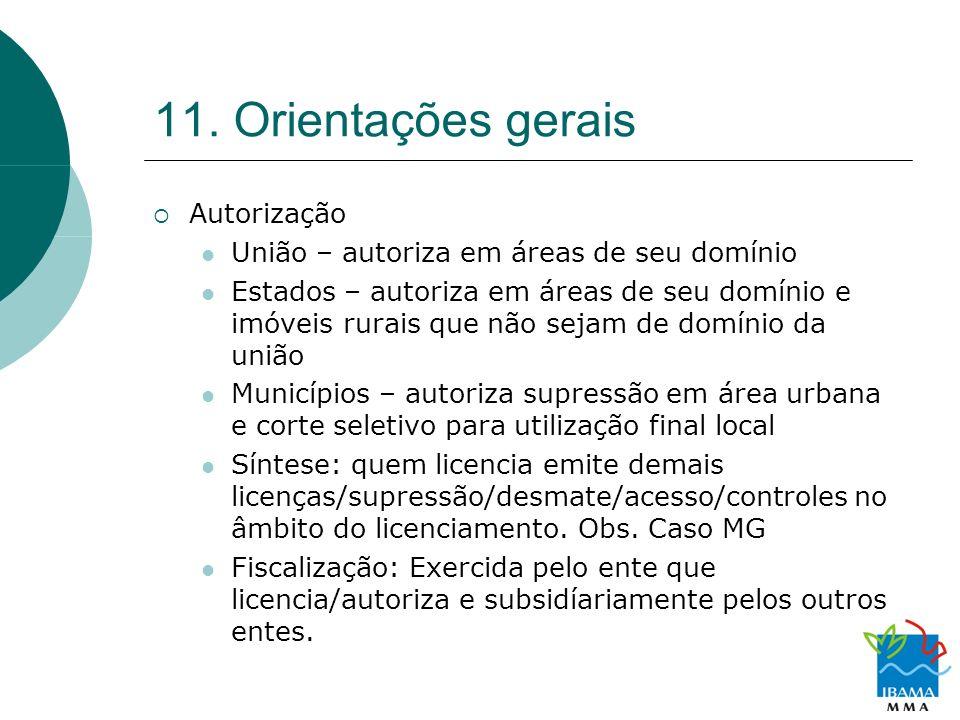 11. Orientações gerais Autorização União – autoriza em áreas de seu domínio Estados – autoriza em áreas de seu domínio e imóveis rurais que não sejam