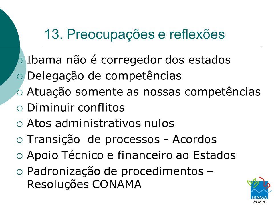 13. Preocupações e reflexões Ibama não é corregedor dos estados Delegação de competências Atuação somente as nossas competências Diminuir conflitos At