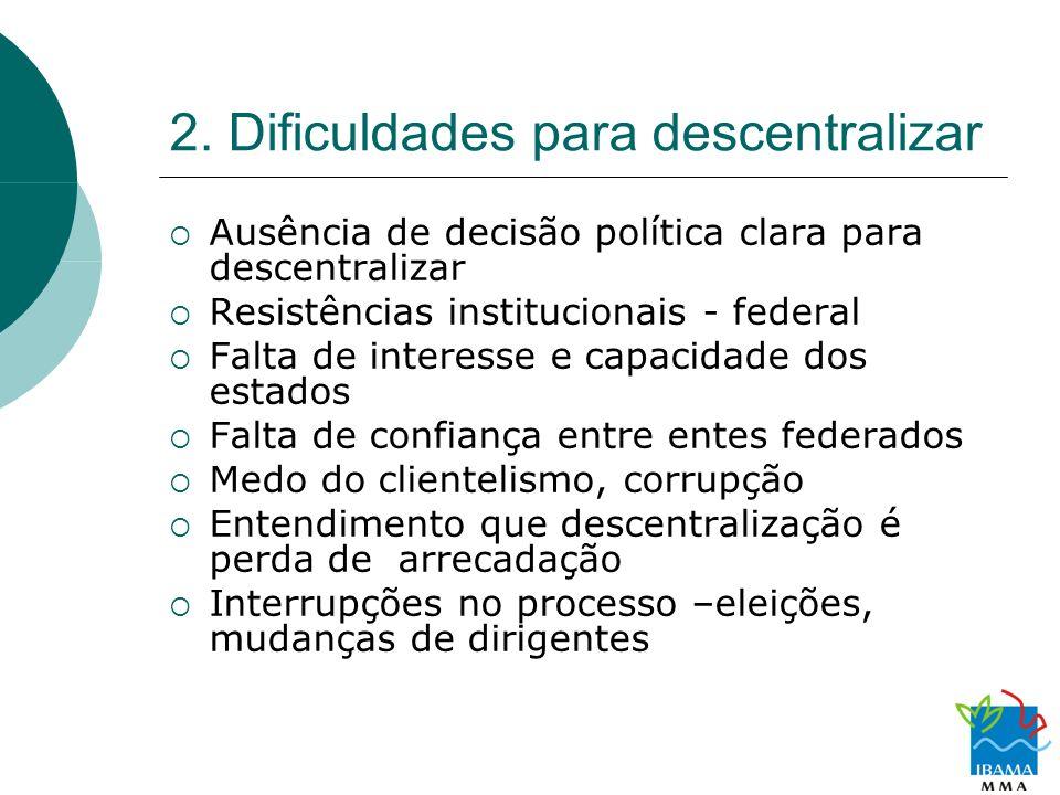 2. Dificuldades para descentralizar Ausência de decisão política clara para descentralizar Resistências institucionais - federal Falta de interesse e