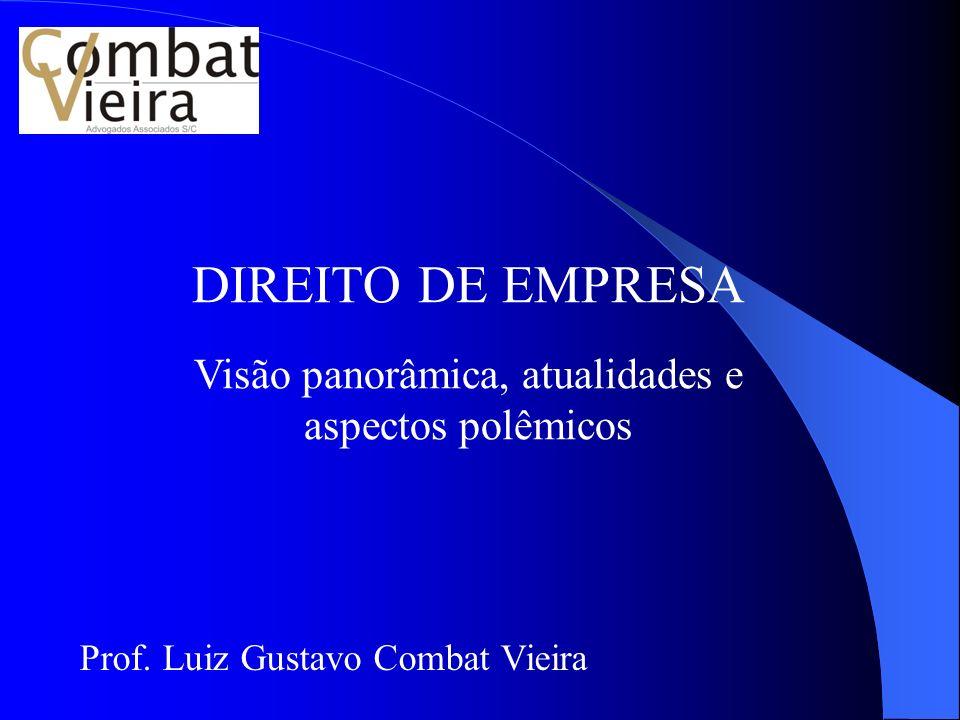 DIREITO DE EMPRESA Visão panorâmica, atualidades e aspectos polêmicos Prof. Luiz Gustavo Combat Vieira
