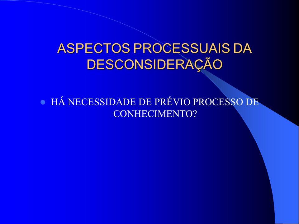 ASPECTOS PROCESSUAIS DA DESCONSIDERAÇÃO HÁ NECESSIDADE DE PRÉVIO PROCESSO DE CONHECIMENTO?