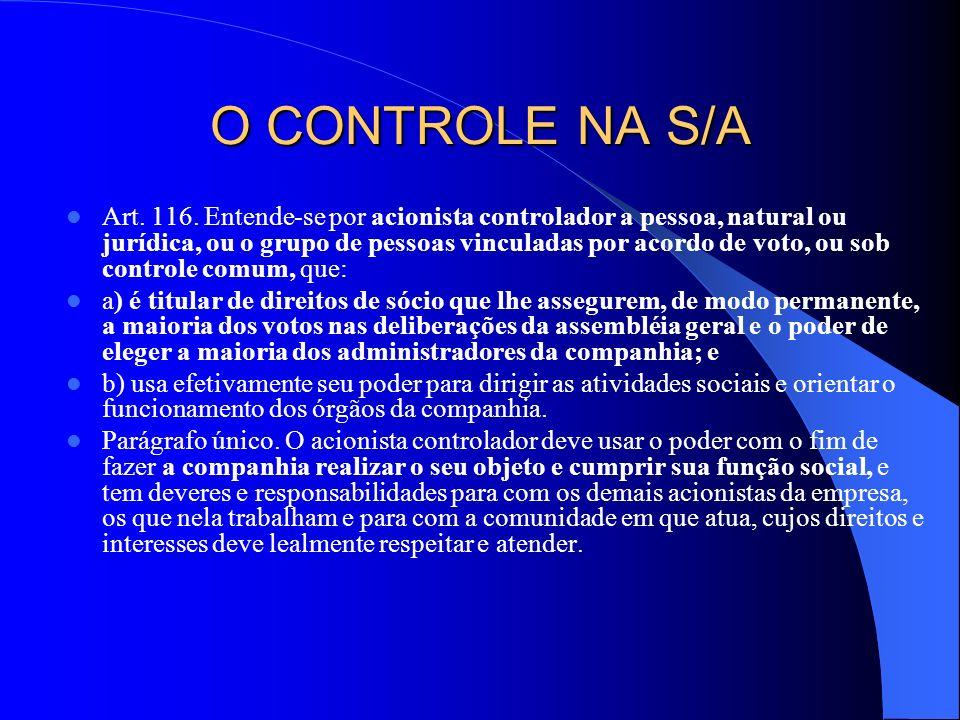 O CONTROLE NA S/A Art. 116. Entende-se por acionista controlador a pessoa, natural ou jurídica, ou o grupo de pessoas vinculadas por acordo de voto, o