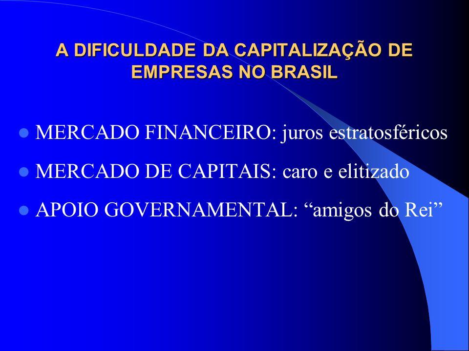 A DIFICULDADE DA CAPITALIZAÇÃO DE EMPRESAS NO BRASIL MERCADO FINANCEIRO: juros estratosféricos MERCADO DE CAPITAIS: caro e elitizado APOIO GOVERNAMENT