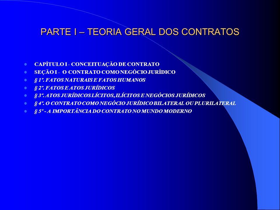 PARTE I – TEORIA GERAL DOS CONTRATOS SEÇÃO II - EVOLUÇÃO HISTÓRICA § 1º - O CONTRATO NO DIREITO ROMANO: FORMALISMO § 2º - CANONISTAS E JUSNATURALISTAS: ABANDONO DO FORMALISMO E CONSAGRAÇÃO DO PRINCÍPIO DO CONSENSUALISMO § 3º - O CONTRATO NO DIREITO MODERNO E CONTEMPORÂNEO: AUTONOMIA DA VONTADE VERSUS DIRIGISMO CONTRATUAL I - CONCEPÇÃO PRIVATISTA: A AUTONOMIA DA VONTADE E OS CONTRATOS PARITÁRIOS II - CONCEPÇÃO INTERVENCIONISTA: O DIRIGISMO CONTRATUAL E OS CONTRATOS DE MASSA III - CONCEPÇÃO SOCIAL DO CONTRATO SEÇÃO III - REGIMES CONTRATUAIS NO DIREITO BRASILEIRO § 1º - REGIME DE DIREITO ADMINISTRATIVO § 2º - REGIME DE DIREITO DO TRABALHO § 3º - REGIME DE DIREITO CONSUMERISTA § 4º - REGIME DE DIREITO COMUM
