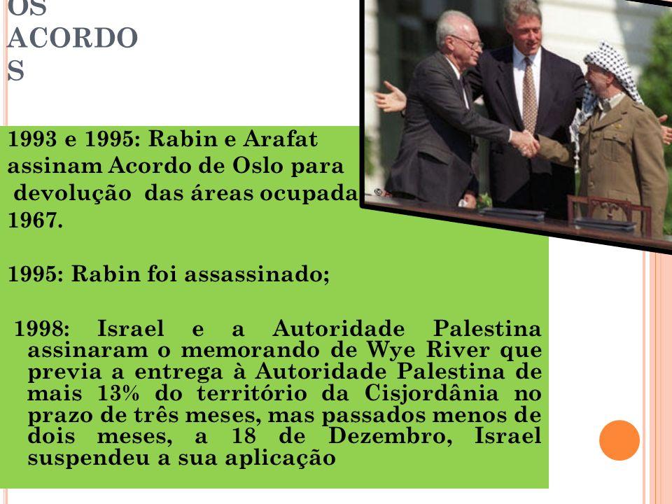 OS ACORDO S 1993 e 1995: Rabin e Arafat assinam Acordo de Oslo para devolução das áreas ocupadas desde 1967. 1995: Rabin foi assassinado; 1998: Israel