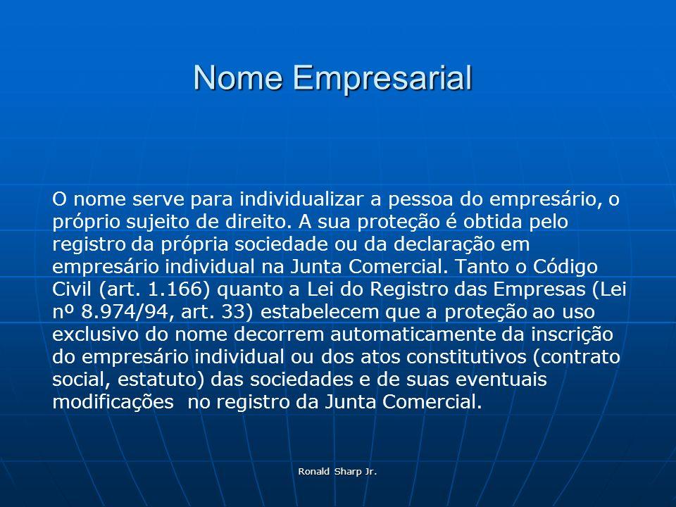 Ronald Sharp Jr. Nome Empresarial O nome serve para individualizar a pessoa do empresário, o próprio sujeito de direito. A sua proteção é obtida pelo