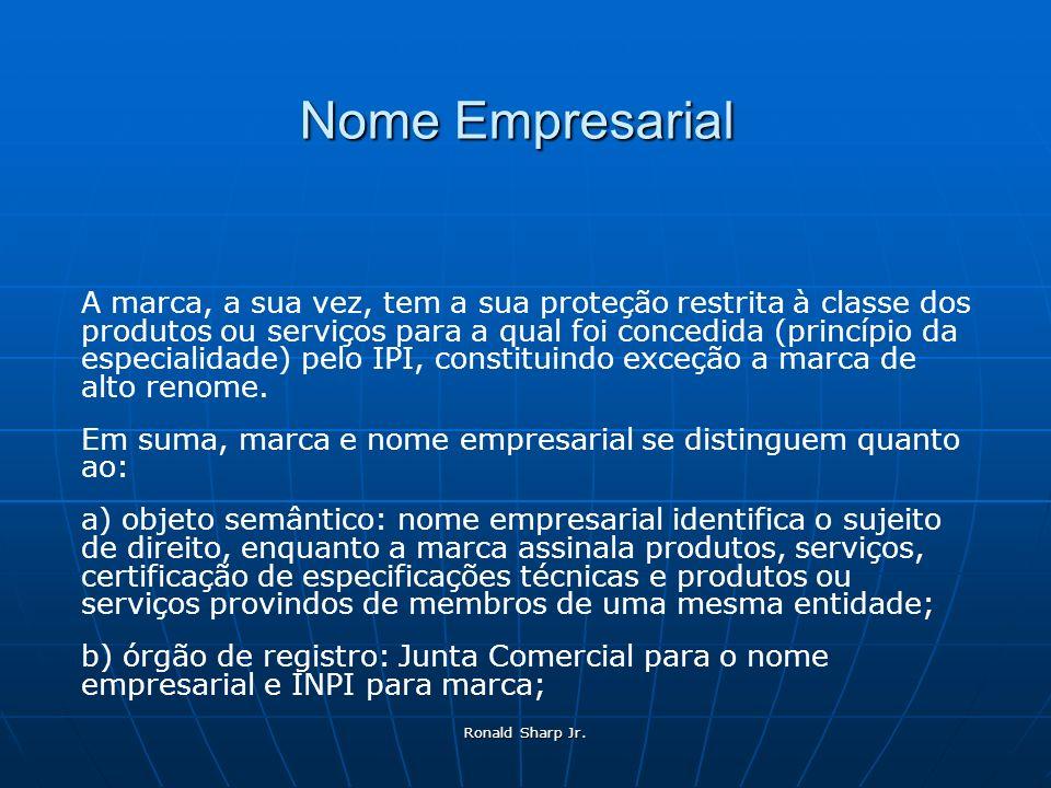 Ronald Sharp Jr. Nome Empresarial A marca, a sua vez, tem a sua proteção restrita à classe dos produtos ou serviços para a qual foi concedida (princíp