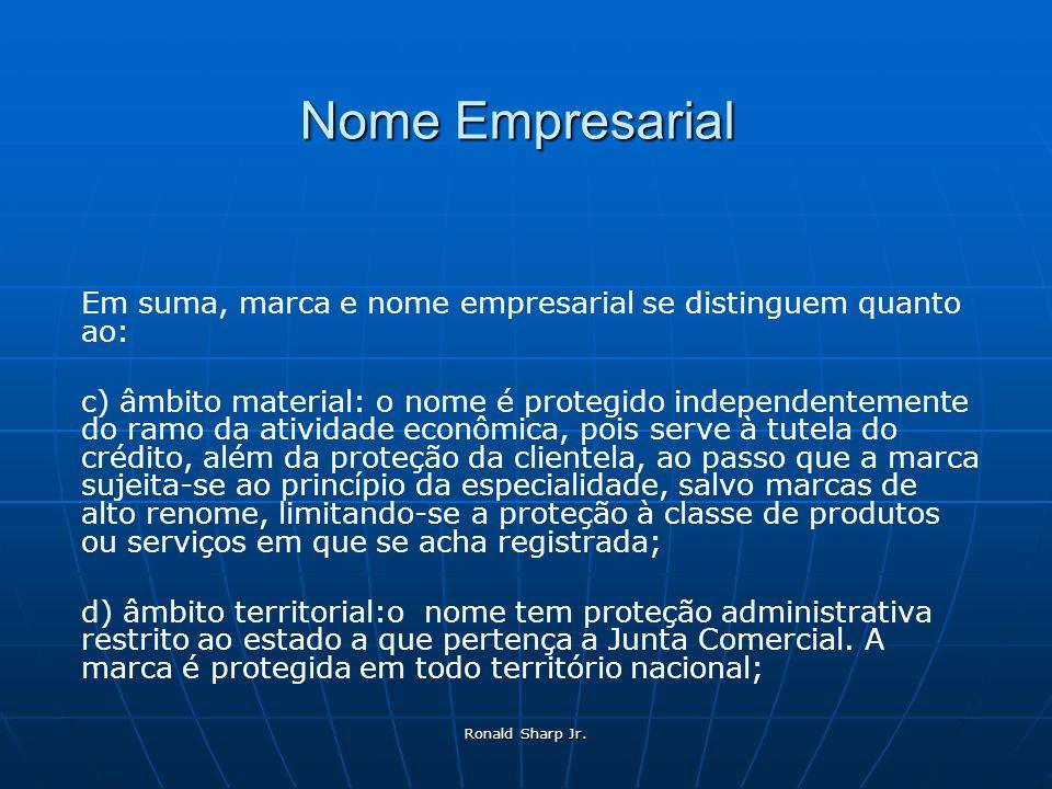 Ronald Sharp Jr. Nome Empresarial Em suma, marca e nome empresarial se distinguem quanto ao: c) âmbito material: o nome é protegido independentemente