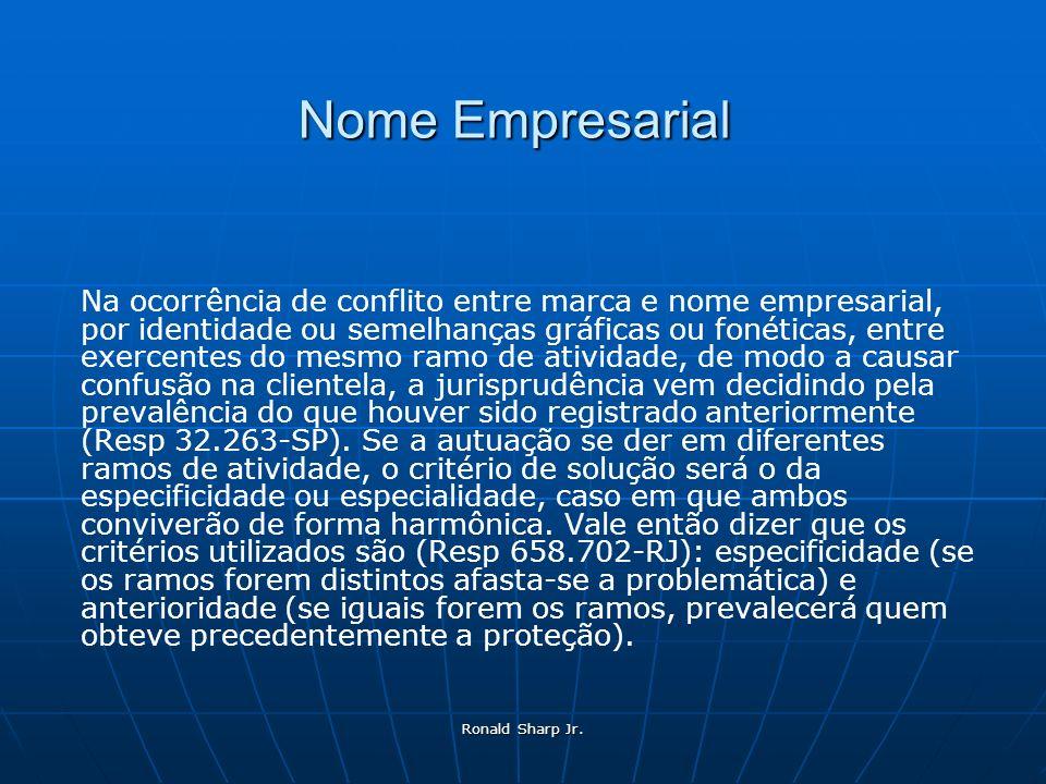 Ronald Sharp Jr. Nome Empresarial Na ocorrência de conflito entre marca e nome empresarial, por identidade ou semelhanças gráficas ou fonéticas, entre