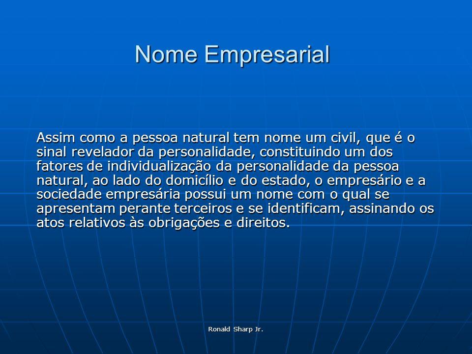 Nome Empresarial Assim como a pessoa natural tem nome um civil, que é o sinal revelador da personalidade, constituindo um dos fatores de individualiza