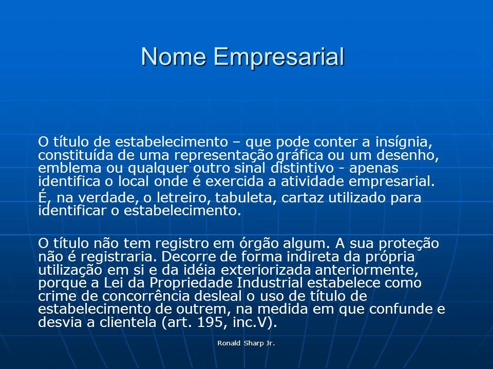 Ronald Sharp Jr. Nome Empresarial O título de estabelecimento – que pode conter a insígnia, constituída de uma representação gráfica ou um desenho, em