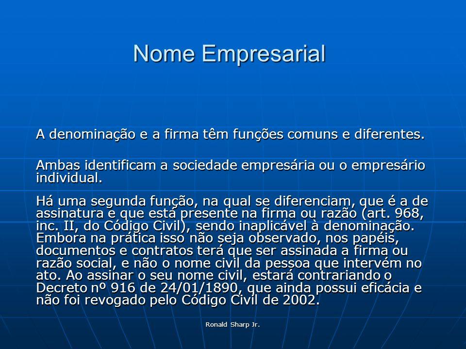 Ronald Sharp Jr. Nome Empresarial A denominação e a firma têm funções comuns e diferentes. Ambas identificam a sociedade empresária ou o empresário in