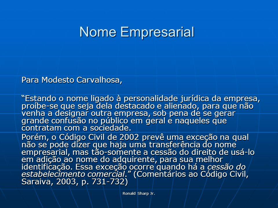 Ronald Sharp Jr. Nome Empresarial Para Modesto Carvalhosa, Estando o nome ligado à personalidade jurídica da empresa, proíbe-se que seja dela destacad