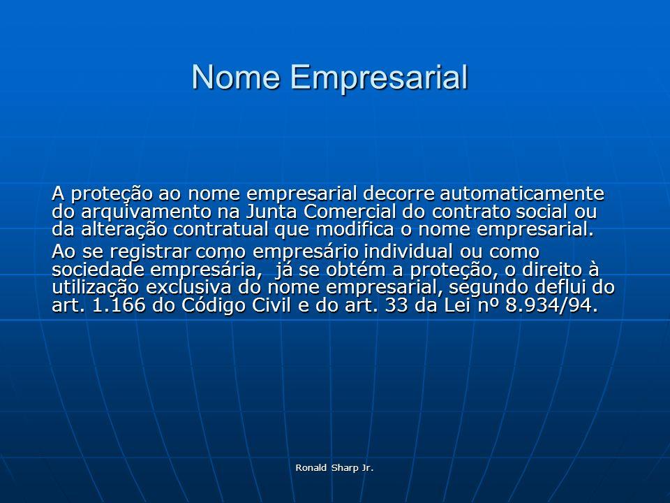 Ronald Sharp Jr. Nome Empresarial A proteção ao nome empresarial decorre automaticamente do arquivamento na Junta Comercial do contrato social ou da a