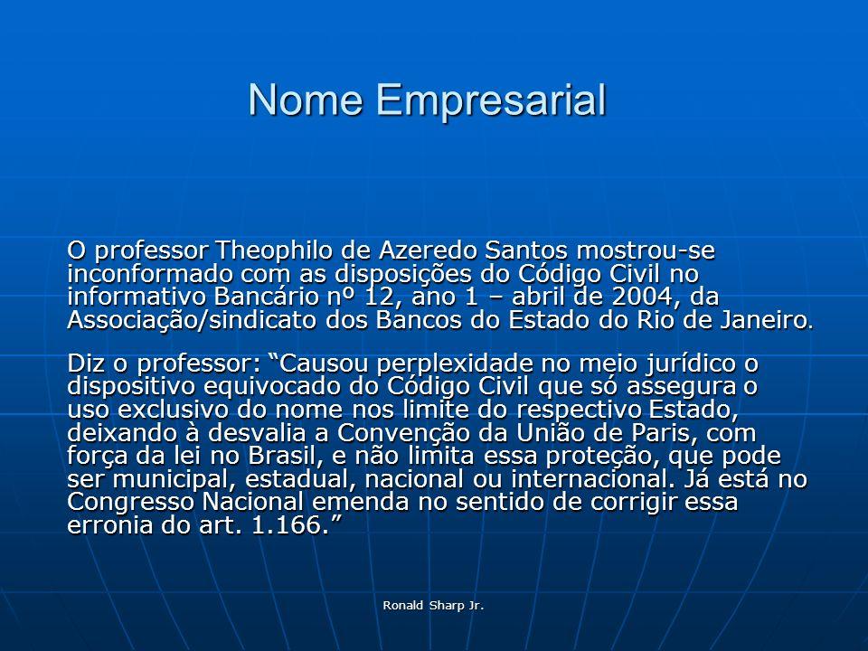 Ronald Sharp Jr. Nome Empresarial O professor Theophilo de Azeredo Santos mostrou-se inconformado com as disposições do Código Civil no informativo Ba