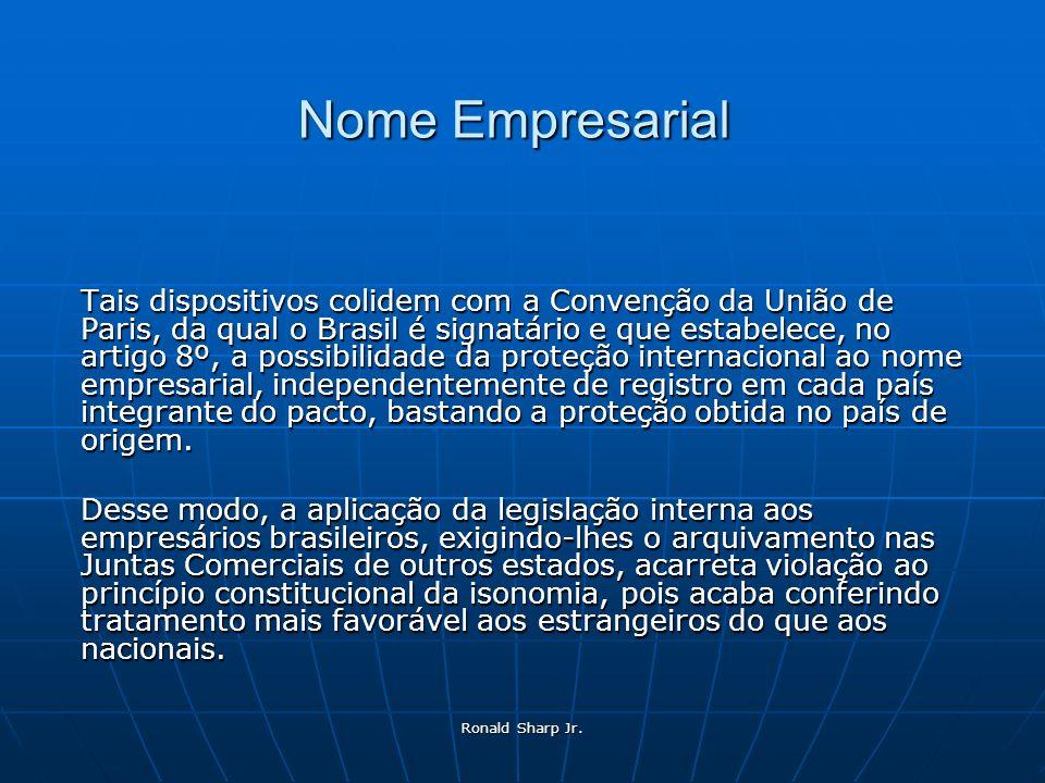 Ronald Sharp Jr. Nome Empresarial Tais dispositivos colidem com a Convenção da União de Paris, da qual o Brasil é signatário e que estabelece, no arti